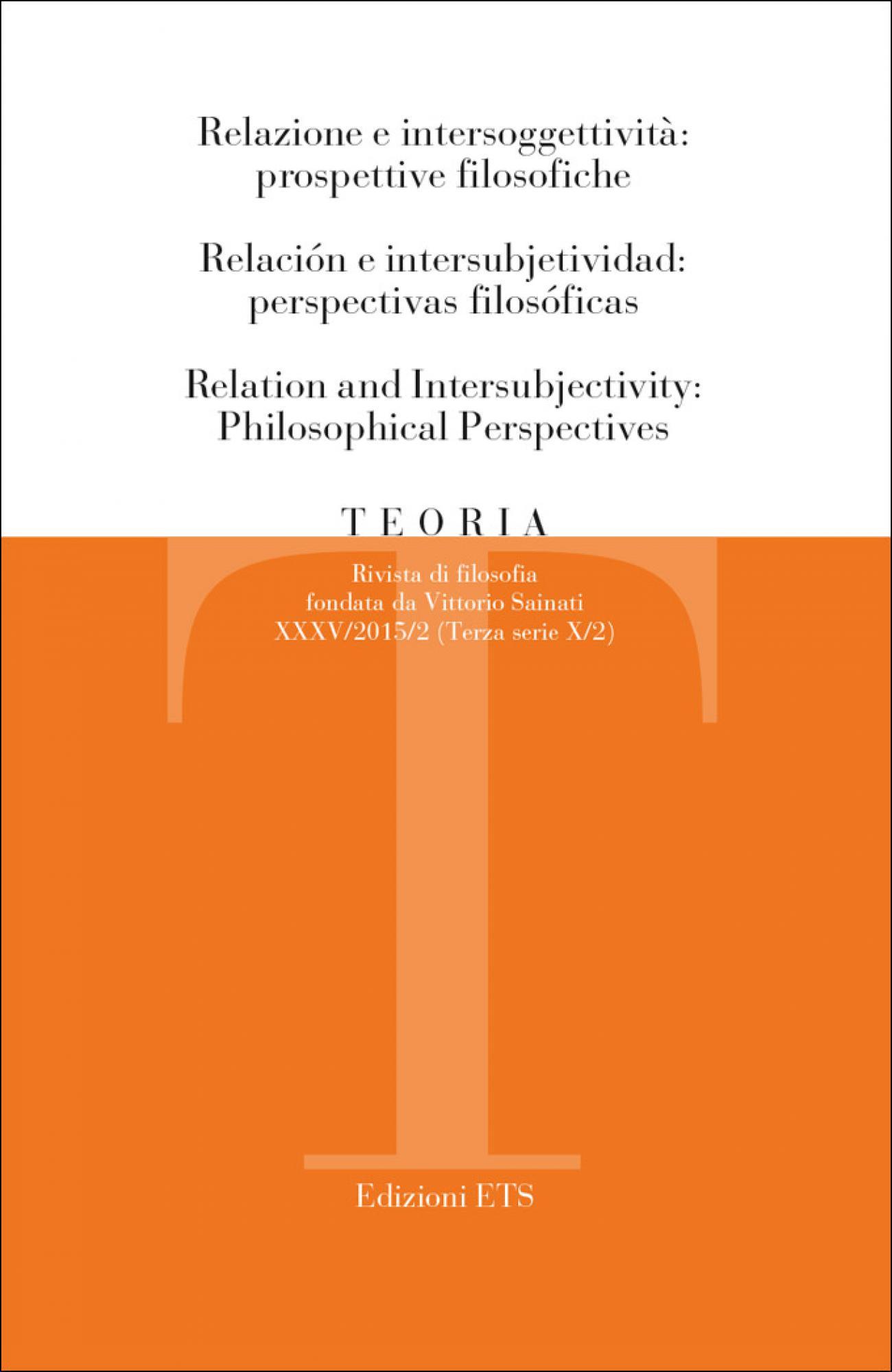 Copertina di Relazione e intersoggettività – Teoria 2015 issue 2