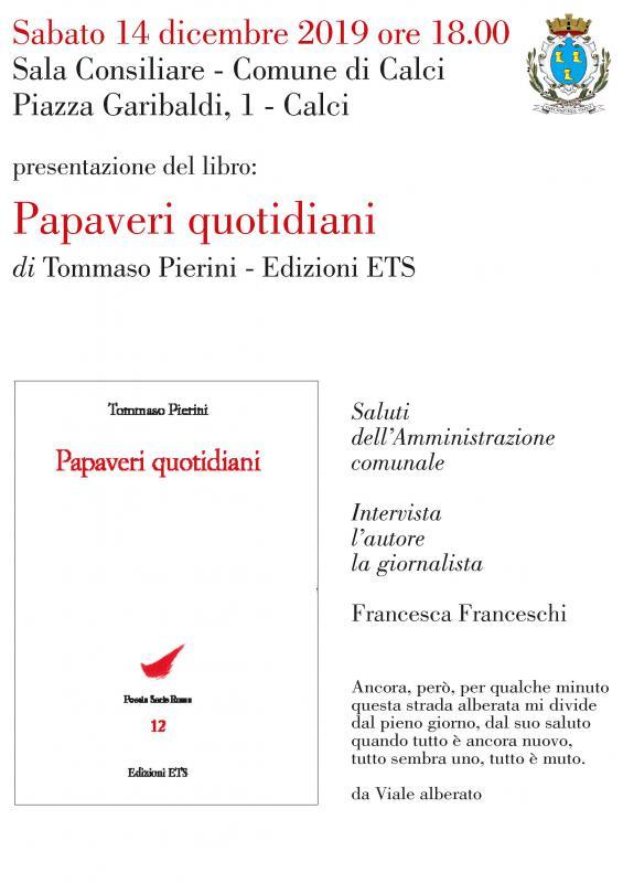 Papaveri quotidiani, prima presentazione per il libro di poesie di Pierini