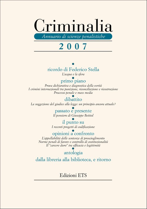 Criminalia 2007.Annuario di scienze penalistiche