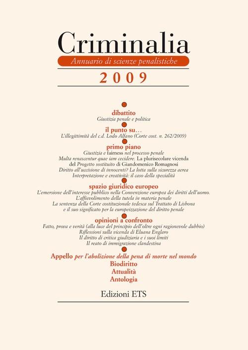 Criminalia 2009.Annuario di scienze penalistiche