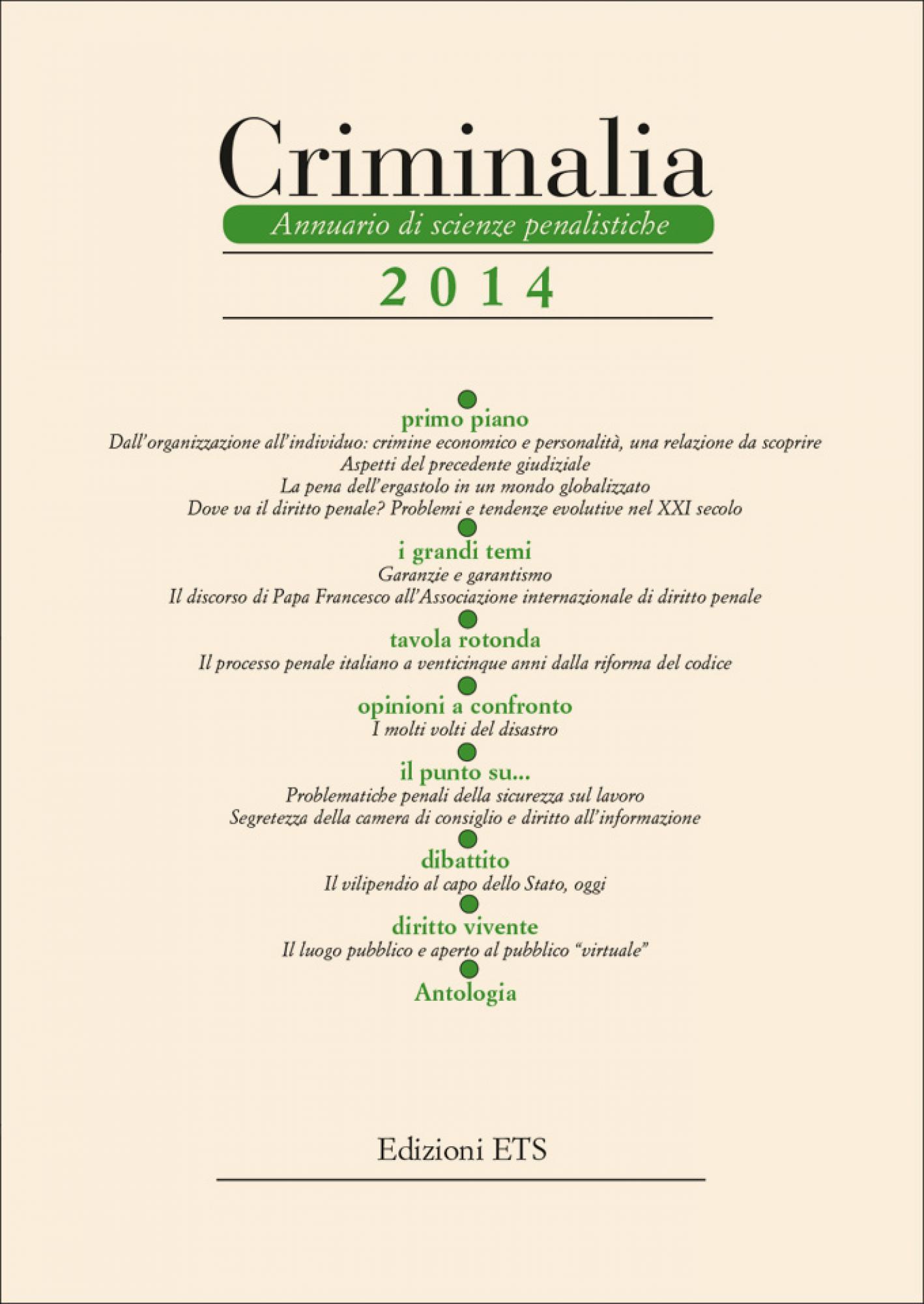 Criminalia 2014.Annuario di scienze penalistiche