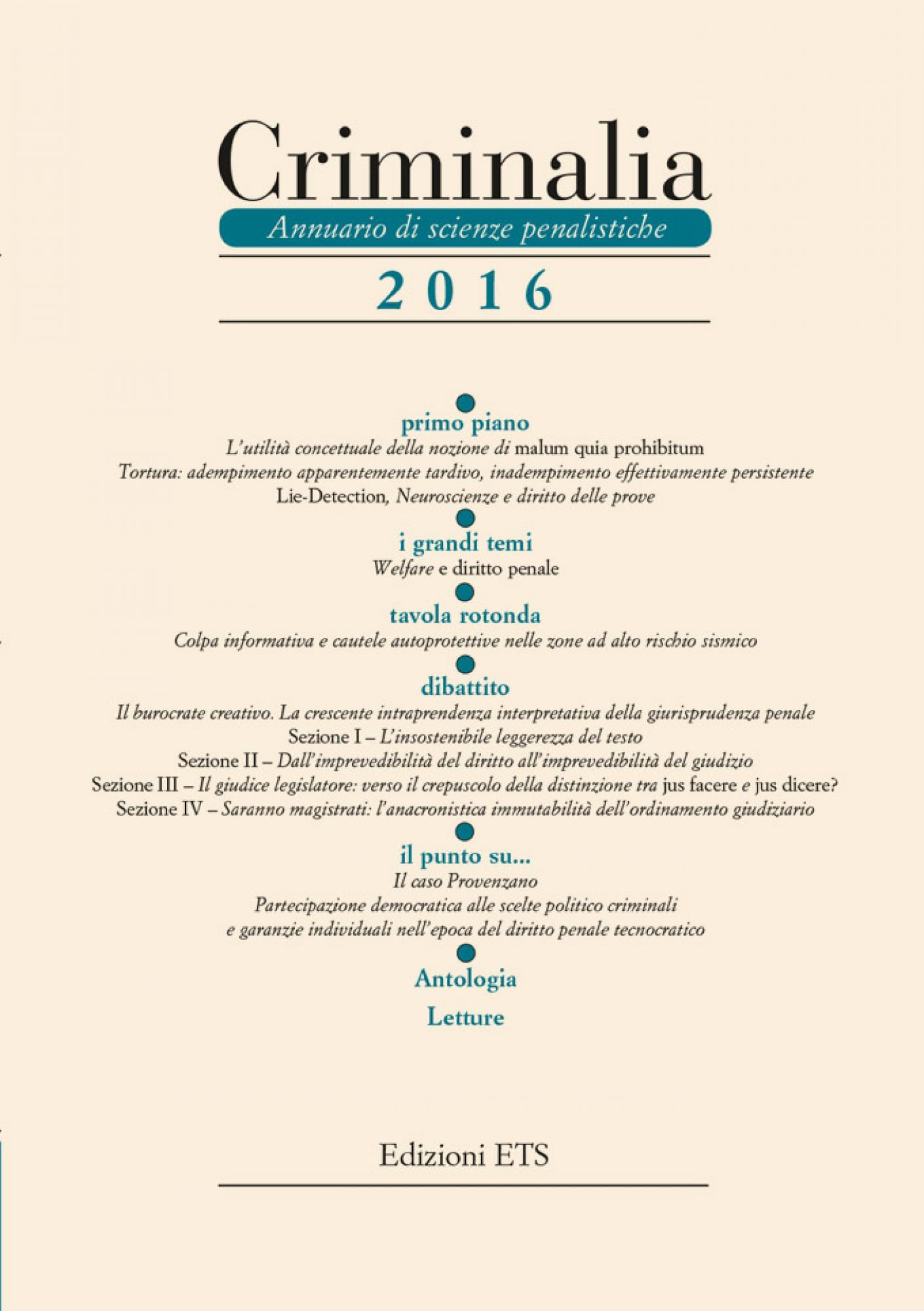 Criminalia 2016.Annuario di scienze penalistiche