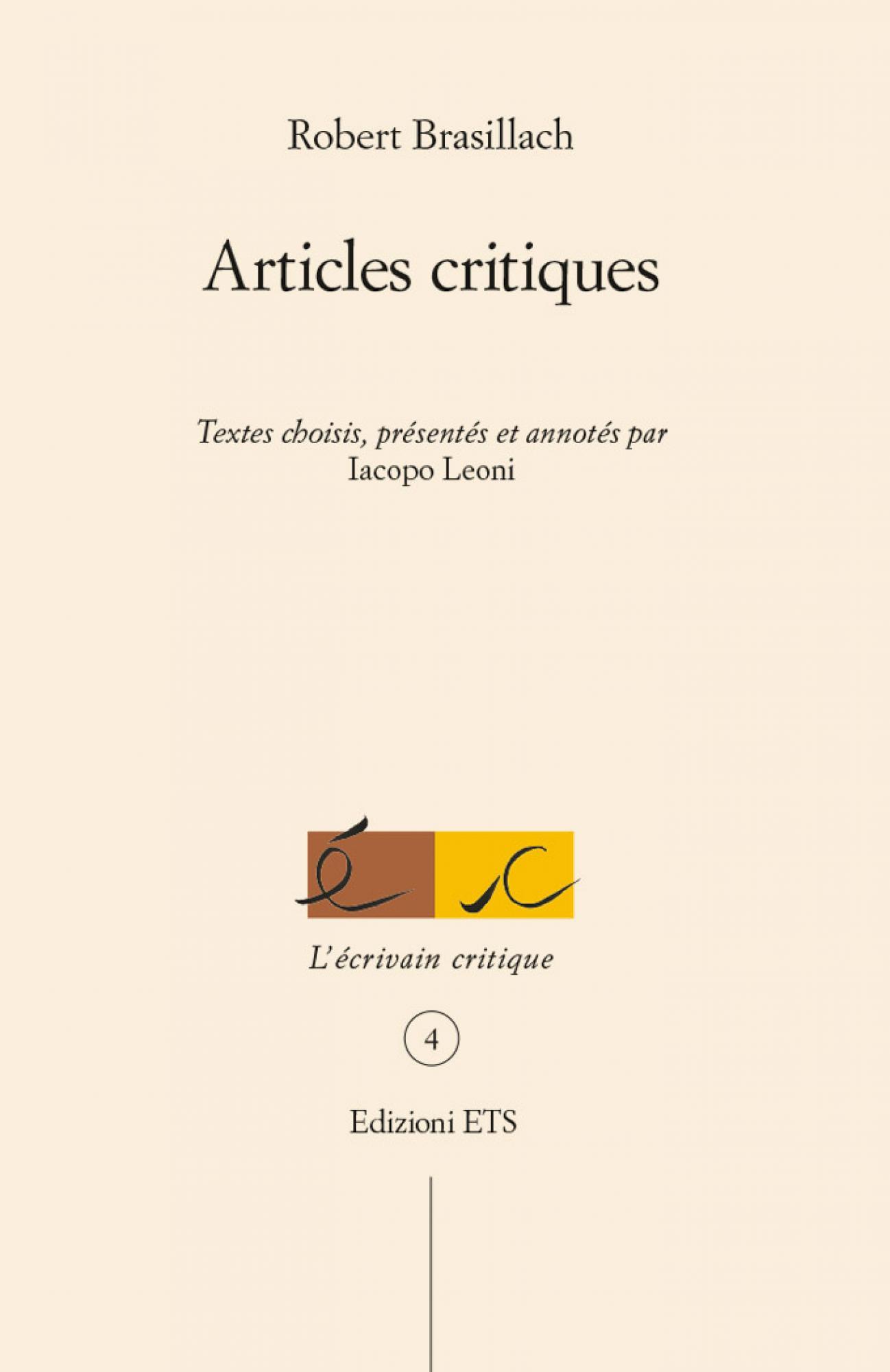 Articles critiques.Textes choisis