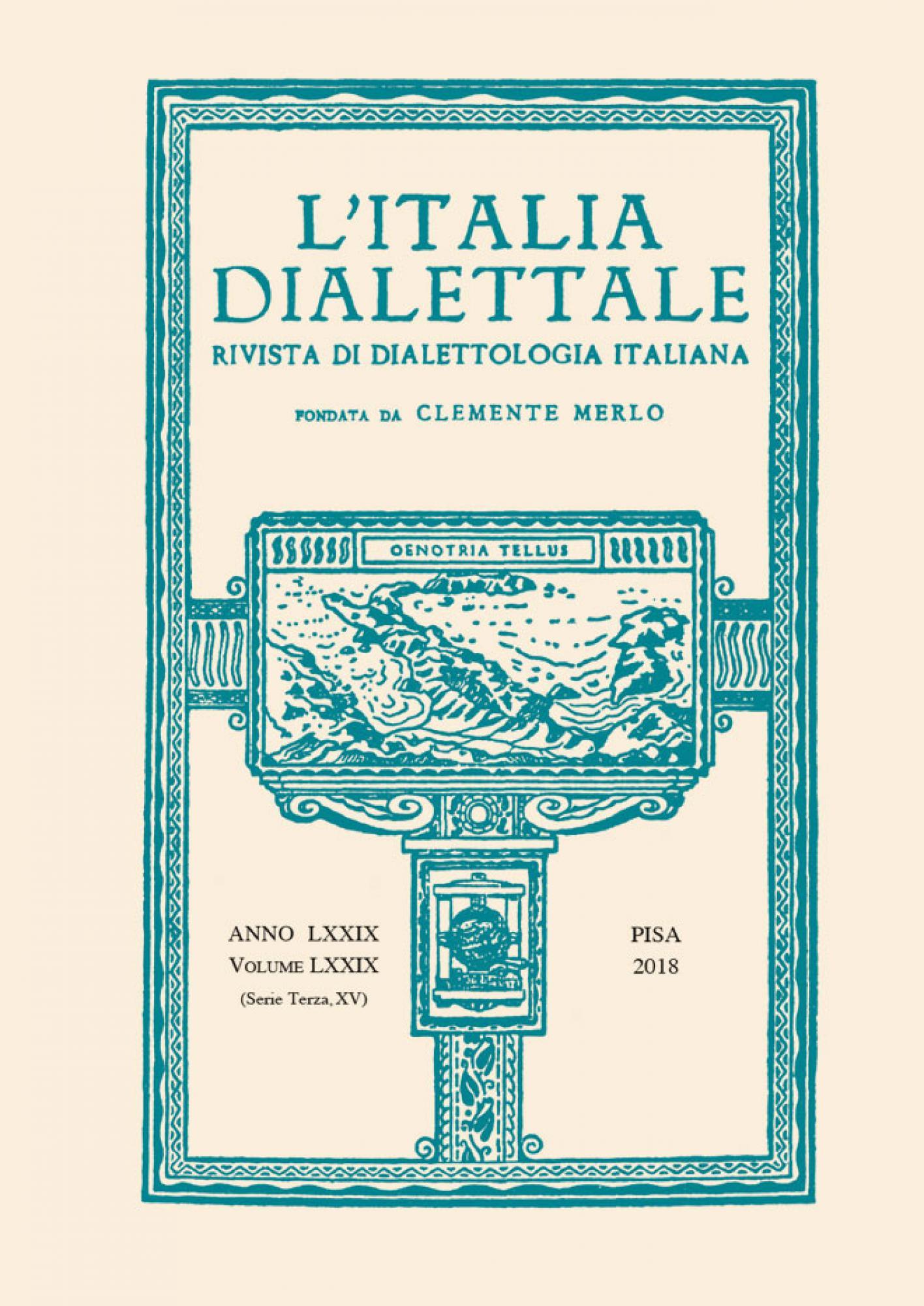 L'Italia dialettale.Rivista di dialettologia italiana – Vol. LXXIX