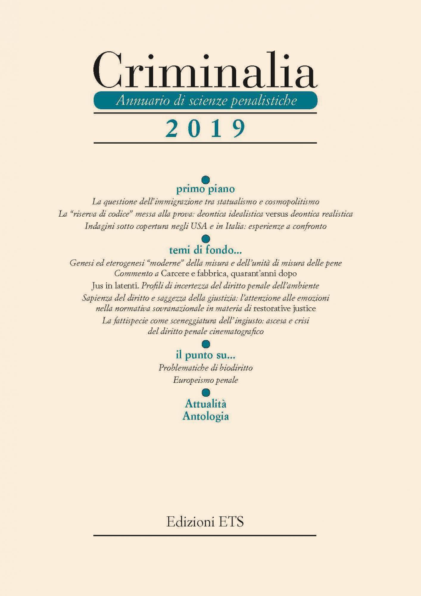 Criminalia 2019.Annuario di scienze penalistiche