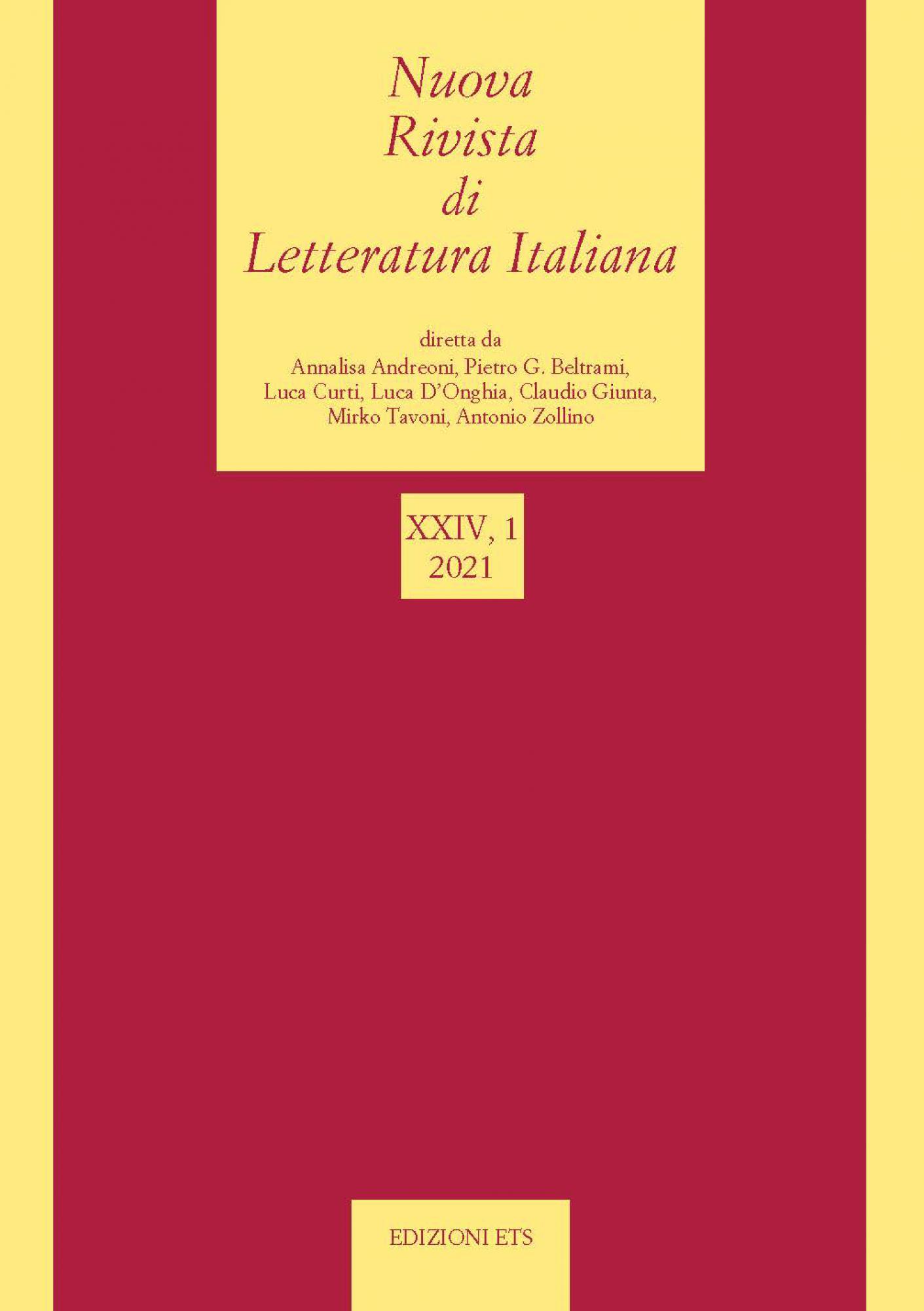 Nuova rivista di letteratura italiana 2021, 1