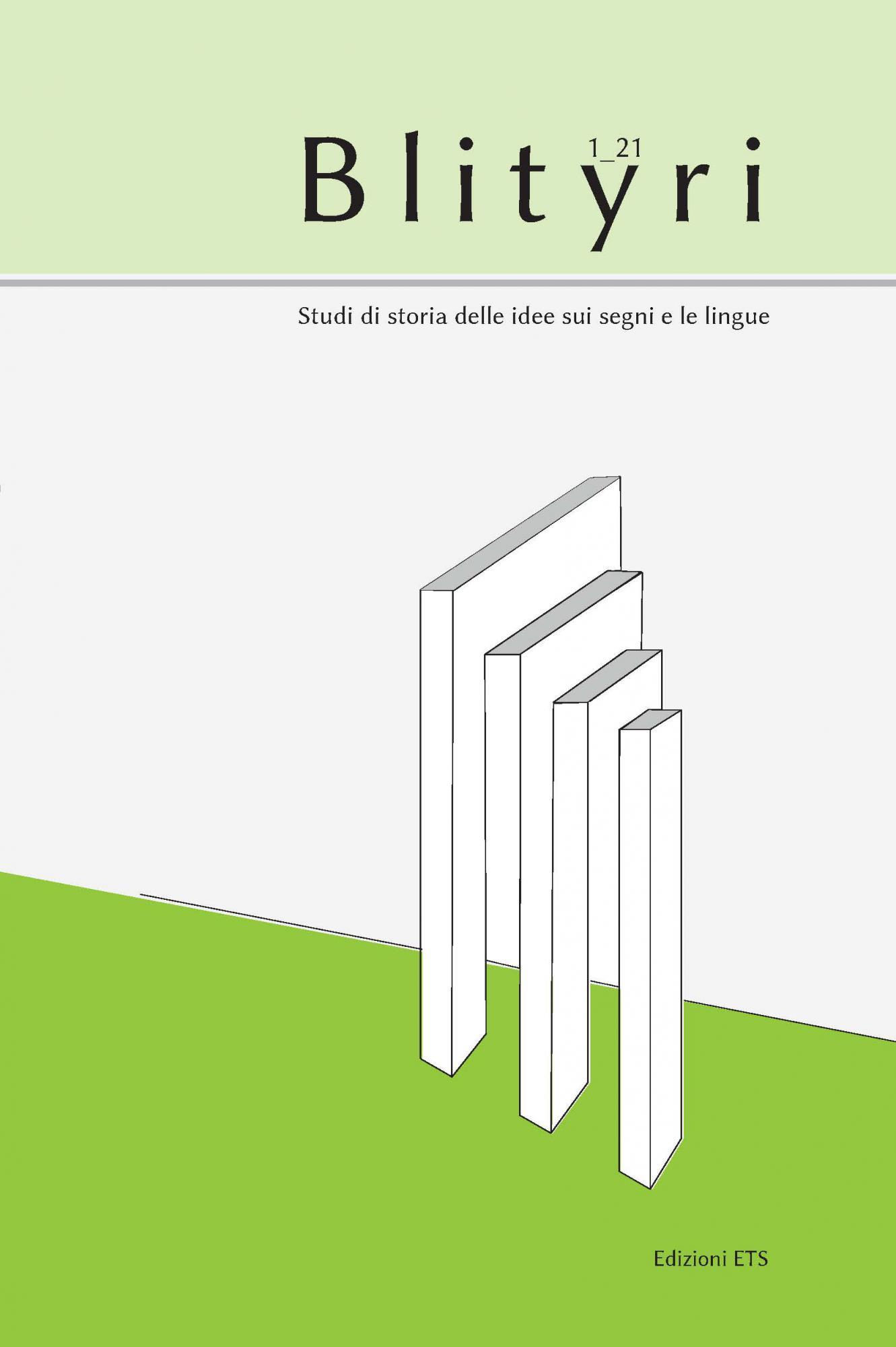 Blityri, X, 1, 2021.Studi di storia delle idee sui segni e le lingue