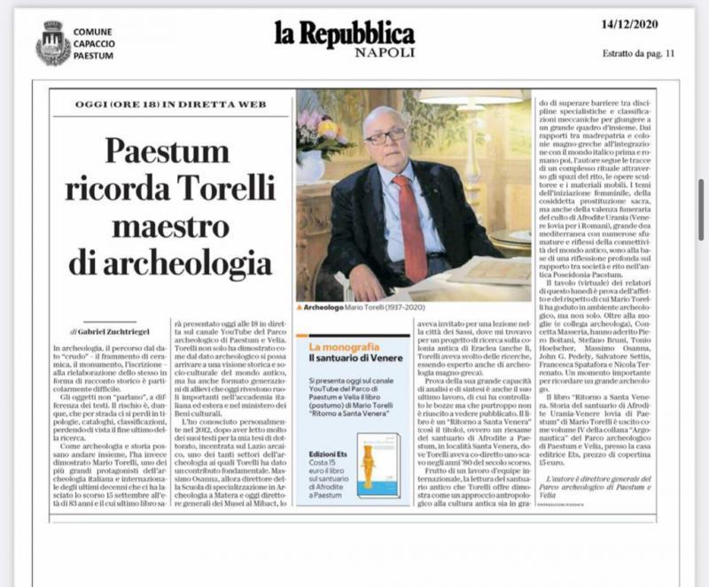 Repubblica, Paestum ricorda Torelli, maestro di archeologia
